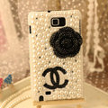 Bling Chanel Bow Crystal Cases Pearls Covers for Samsung N7100 GALAXY Note2 - Black
