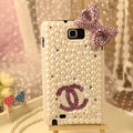 Bling Chanel Bow Crystal Cases Pearls Covers for Samsung N7100 GALAXY Note2 - Pink