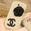 Bling Chanel Crystal Case Pearls Covers for Samsung Galaxy SIII S3 I9300 I9308 I939 I535 - Black