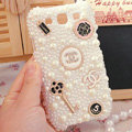 Bling Chanel Crystal Case Pearls Covers for Samsung Galaxy SIII S3 I9300 I9308 I939 I535 - White