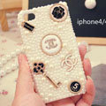 Bling Chanel Crystal Cases Pearls Covers for iPhone 4G/4S - White