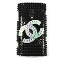 Bling Chanel Crystals Hard Cases Covers For Sony Ericsson X10i - Black
