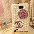 Bling Chanel Flower Crystal Cases Pearls Covers for Samsung N7100 GALAXY Note2 - Pink
