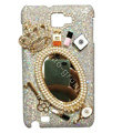 Bling Chanel Mirror Crystal Cases Covers for Samsung Galaxy Note i9220 N7000 i717 - White