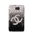 Bling Chanel Swarovski Crystals Cases Covers For Samsung Galaxy Note i9220 N7000 - Gradient Black