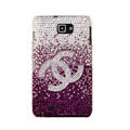 Bling Chanel Swarovski Crystals Cases Covers For Samsung Galaxy Note i9220 N7000 - Purple