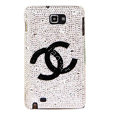 Bling Chanel Swarovski Crystals Cases Covers For Samsung Galaxy Note i9220 N7000 - White