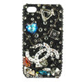 Bling Chanel Swarovski crystals diamond cases covers for iPhone 4G - Black