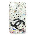 Bling Chanel Swarovski crystals diamond cases covers for iPhone 4G - White
