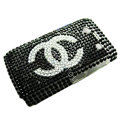 Bling Chanel crystals cases diamonds covers for Blackberry Bold 9700 - Black
