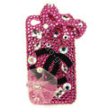 Bling Swarovski Chanel Bowknot crystal diamond cases covers for iPhone 4G - Rose