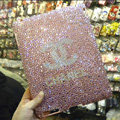 Bling Swarovski Chanel covers diamond crystal hard cases for iPad 2 / The New iPad - Pink
