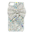 Bling chanel bowknot Swarovski crystals diamond cases covers for iPhone 4G - White