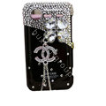 Bling chanel clover crystals diamond cases covers for HTC Incredible S S710e G11 - Black