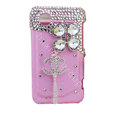 Bling chanel clover crystals diamond cases covers for HTC Incredible S S710e G11 - Pink