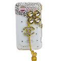 Bling chanel clover crystals diamond cases covers for HTC Incredible S S710e G11 - White