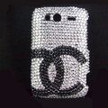 Bling chanel crystals diamond cases covers for HTC Salsa G15 C510e - White