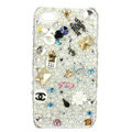 Bling chanel flowers Swarovski crystals diamond cases covers for iPhone 4G - White