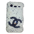 Bling chanel pearl crystals diamond cases covers for HTC Incredible S S710e G11 - White