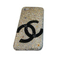 Bling covers Black Chanel diamond crystal cases for iPhone 4G - White