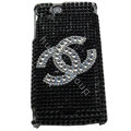 Chanel bling crystals cases covers for Sony Ericsson Xperia Arc LT15I X12 LT18i - Black
