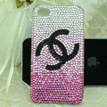 Chanel diamond Crystal Cases Luxury Bling Covers skin for iPhone 5 - Pink