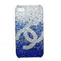 Chanel iphone 3G case crystal diamond Gradual change cover - blue