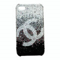 Chanel iphone 4G case crystal diamond Gradual change cover - black