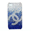 Chanel iphone 4G case crystal diamond Gradual change cover - blue