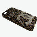 Chanel iphone 4G case diamond leopard cover - brown