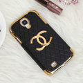 Chanel leather Case Hard Back Cover for Samsung GALAXY S4 I9500 SIV - Black
