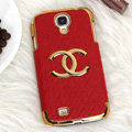 Chanel leather Case Hard Back Cover for Samsung GALAXY S4 I9500 SIV - Red