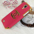 Chanel leather Case Hard Back Cover for Samsung GALAXY S4 I9500 SIV - Rose