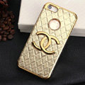 Chanel leather Cases Luxury Hard Back Covers Skin for iPhone 5 - Gold