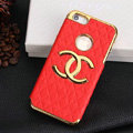 Chanel leather Cases Luxury Hard Back Covers Skin for iPhone 5 - Red
