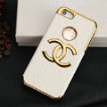 Chanel leather Cases Luxury Hard Back Covers Skin for iPhone 5 - White