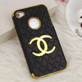Chanel leather Cases Luxury Hard Back Metal Covers Skin for iPhone 4G 4S - Black