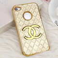 Chanel leather Cases Luxury Hard Back Metal Covers Skin for iPhone 4G 4S - Gold