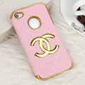 Chanel leather Cases Luxury Hard Back Metal Covers Skin for iPhone 4G 4S - Pink