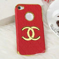Chanel leather Cases Luxury Hard Back Metal Covers Skin for iPhone 4G 4S - Red