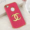 Chanel leather Cases Luxury Hard Back Metal Covers Skin for iPhone 4G 4S - Rose