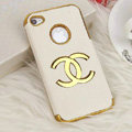 Chanel leather Cases Luxury Hard Back Metal Covers Skin for iPhone 4G 4S - White