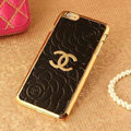 Classic Chanel Metal Flower Leather Cases Luxury Hard Back Covers Skin for iPhone 6 - Black