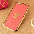 Classic Chanel Metal Flower Leather Cases Luxury Hard Back Covers Skin for iPhone 6 - Orange