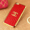 Classic Chanel Metal Flower Leather Cases Luxury Hard Back Covers Skin for iPhone 6 - Red