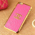 Classic Chanel Metal Flower Leather Cases Luxury Hard Back Covers Skin for iPhone 6 - Rose