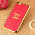 Classic Chanel Metal Flower Leather Cases Luxury Hard Back Covers Skin for iPhone 6 - Watermelon