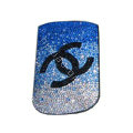 Luxury Bling Holster Covers Chanel diamond Crystal Cases for iPhone 5 - Blue