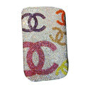 Luxury Bling Holster Covers Chanel diamond Crystal Cases for iPhone 5 - White