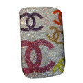 Luxury Bling Holster covers Chanel diamond crystal cases for iPhone 4G - White